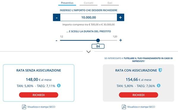 Simulazione di un prestito agos online