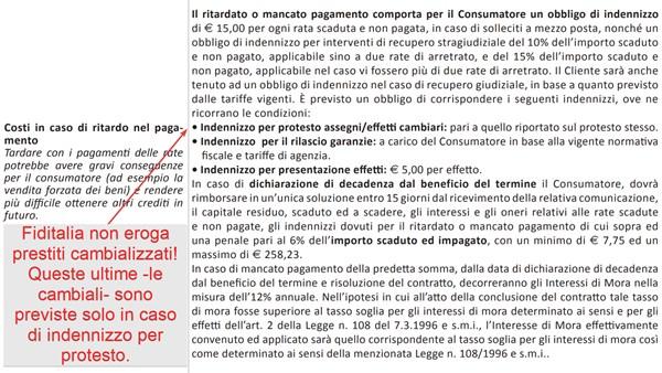 Estratto PDF del modulo SECCI di Fiditalia - uso delle cambiali.