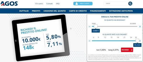 piccolo prestito Agos 3.000 euro